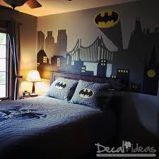 Batman Superman Spiderman Gotham City Skyline Buildings With FREE Emblem Vinyl Wall Decal Sticker