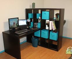 our new office using ikea expedit bookshelf as a room divider in