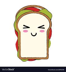 Delicious Sandwich Food Cute Kawaii Cartoon Vector Image