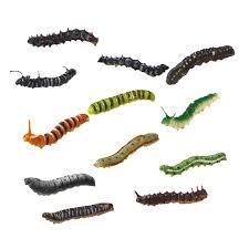 12er set kunststoff raupe wurm insekt modell kinder spielzeug sammlung dekoration mehrfarbig 12 stück insekten