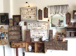 Our Finished Jewelry Display Is A Combination Of Old Window Frames Doorknobs Planks Wood Crates Picture And Decoupaged Vases From Thrift