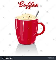Vector Full Red Coffee Mug With Text Cup Cappuccino Cream And Chocolate