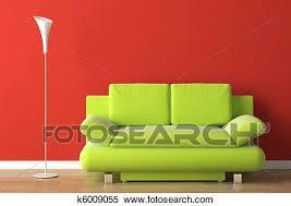 inneneinrichtung grüne auf rot stock fotografie