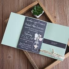 Boho Chalkboard Mason Jar Green Pocket Floral Ribbon Wedding Invitation EWPI191 2