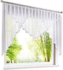 eslir scheibengardine mit kräuselband gardinen küche bistrogardinen transparent stores vorhänge mit satinband voile weiß hxb 145x300cm 1 stück