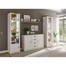 wohnzimmer anbauwand im landhausstil pisa 61 in pinie weiß und eiche hell b h t ca 270 198 43 cm