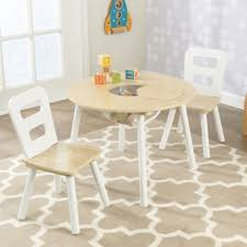 KidKraft 27027 Kids Wood Round Play Table & 2 Chair Set White ...