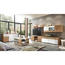 lomadox wohnzimmer set lombardo 61 mega spar set 6 tlg wohnzimmer programm inkl beleuchtung modern wotan eiche nb mit weiß hochglanz und
