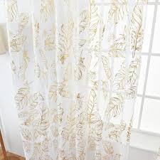 fenstervorhang feder bedruckter voile gardine halbtransparent vorhang für wohnzimmer schlafzimmer 100x200cm gold