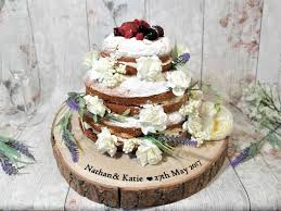 Rustic Log Tree Cake Stand Wedding Personalised Engraved Cakes