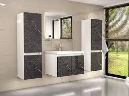 badmöbel set weiss marmor optik hochglanz