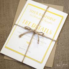 Yellow And Kraft Paper Fern Wedding Invitations With Rustic Jute Twine From Magpie