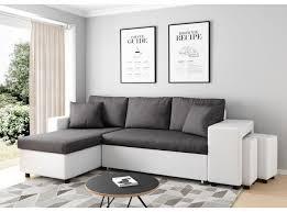 canapé d angle pouf canapé d angle convertible en lit avec poufs oslo gris blanc
