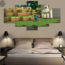 5 Pieces Canvas Painting Minecraft Wall Decor Modern