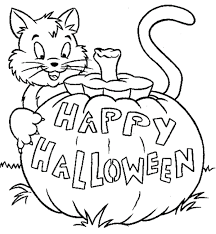 Cat Coloring Page Print Pretentious Idea Halloween Pages With Cats Happy Animal