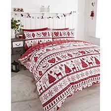 Noel Christmas Tree Snowflake Reversible Duvet Quilt Cover Bedding Set Red