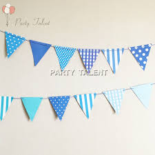 Party Supplies 1set Cool Blue DIY Paper Flags Banner Includes 12pcs And A 3m String