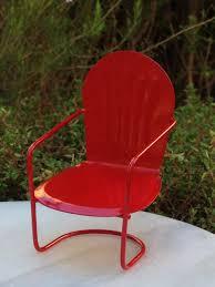 Miniature Dollhouse FAIRY GARDEN Furniture Red Metal Glider Chair NEW