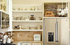 Nice Shelves Perfect Fridge For Shabby Chic Kitchen Decor With Floating