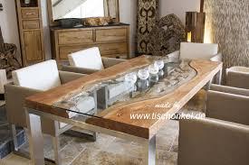 esstisch elements aus massivholz edelstahl und glas der