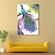 DIY 5D Diamond Purple Pattern Peacock Wall Stickers Painting Home Decorations Beauty Cross Stitch