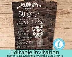 50th Anniversary Invitation Party Rustic Editable Invite Instant