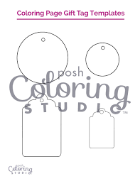 Adult Coloring Page Gift Tag Templates