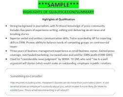 Qualifications In A Resume Example Of Qualification Highlights Sample For Customer Service
