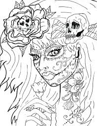 Day Of The Dead Coloring Pages Pdf Girl Page Digital Download