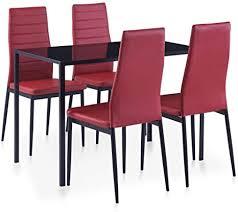 vidaxl essgruppe 5 tlg esszimmertisch esstischset esszimmergarnitur küchentisch esszimmer stuhl tisch set sitzgruppe esstisch mit 4 stühlen weinrot
