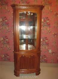 lighted corner china hutch cabinet tell city chair company oak