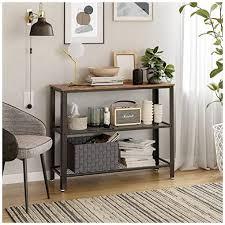 vasagle konsolentisch flurtisch mit 2 gitterablagen beistelltisch sideboard wohnzimmer flur 101 5 x 35 x 80 cm