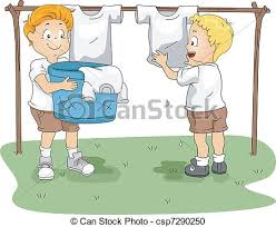 Camp Hanging Clothes Illustration Of Kids