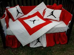 michael jordan red and white crib bedding set baby stuff