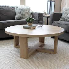 100 Living Room Table Modern Round All Wood White Oak Coffee Solid Wood Free Shipping