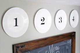 DIY Kitchen Decor Numbered Plate Display