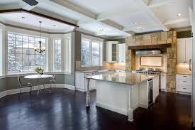 Modern Kitchen Booth Ideas by The Open Floor Plan And Large Bay Window Make This Large Kitchen