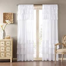 amazon com uphome 1pc white solid ruffle window curtain panels