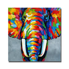 Hand Painted Indian Elephant Abstract Oil Painting For Living Room Canvas Based Art Home Decor