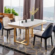 luxus italienischen esstisch set moderne ecke marmor top