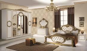 schlafzimmer set barocco 7 teilig in weiß gold 180x200 cm
