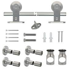Barn Door Hardware - Door Knobs & Hardware - The Home Depot Winsoon 516ft Bypass Sliding Barn Door Hdware Double Rustic Buy Online From The Original Company Interior Varnished Oak Which Furnished With Stainless Steel Modern Amazoncom Tms Wdenslidingdoorhdware Attractive Track Knobs The Home Depot Hangers I37 On Cheerful Design Style With Traditional Kit Hingeless