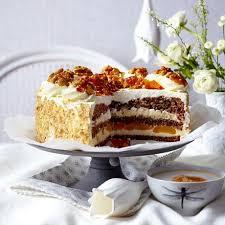 walnuss vanillecreme torte mit karamellsplittern