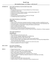 Download Dialysis Technician Resume Sample As Image File