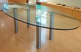 details zu zeitloser ovaler glastisch fürs esszimmer büro oder im ladengeschäft