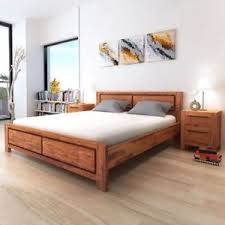 vidaXL Bed Frame Solid Acacia Wood King Size Wooden Brown Bedroom
