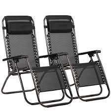 Set Of 2 Zero Gravity Outdoor Patio Chairs - Black
