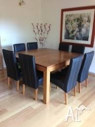 Solid Vic Ash Square Dining Table With 8 Black Leather