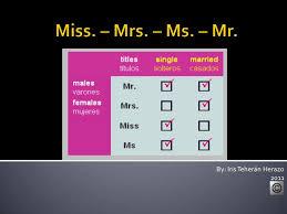 Miss Mr Ms Mrs
