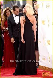 Evening Dresses Red Carpet by Lady Gaga Emmys 2015 Red Carpet Black One Shoulder Formal Dress